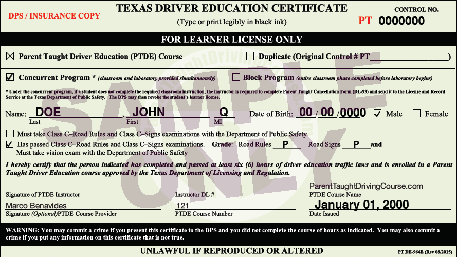DE 964 Permit Sample